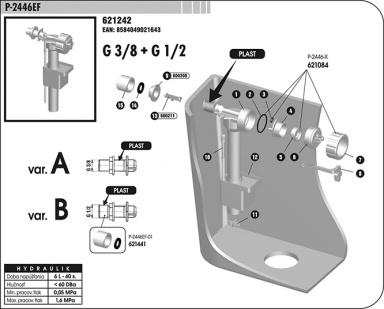 P-2446-EF Plovákový ventil boční univerzální (3/8-1/2),