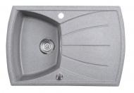 Dřez granitový vestavný s odkapávací plochou, 77x51 cm, šedá