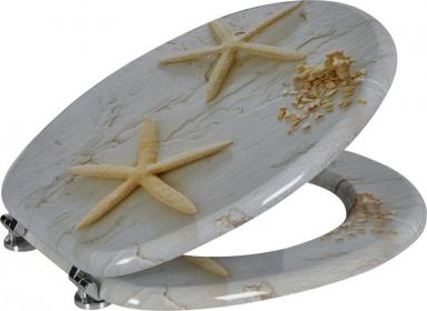 FUNNY WC sedátko s potiskem mořská hvězda, MDF, bílá
