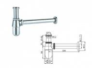 SAGITTARIUS 04000 C sifon umyvadlový DN 32 5/4 bez odpad. ventilu - kovový, chrom (04000C)
