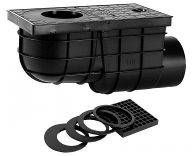 HACO Lapač střešních vod boční DN 110 černá HC0521