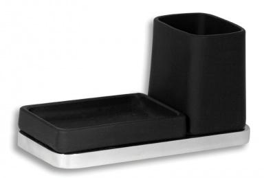 NOVASERVISDržák skleničky a mýdlenky Metalia 4 černá-chrom